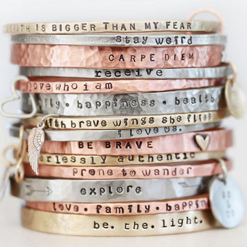Graduation / Mothers Day / BlessingBands / Mantra Bangles / Power Phrase Bracelets / Gift for Her / Unique Gift / Positive Jewelry