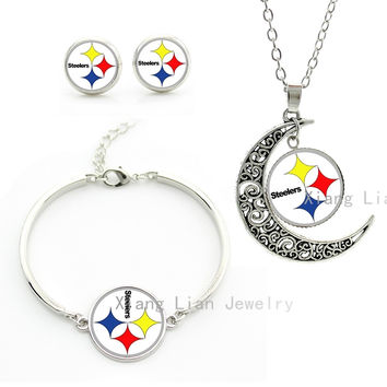 Newest fashion rugby Pittsburgh Steelers team jewelry romantic star art moon pendant necklace earrings bracelet set party NF049