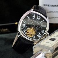 HCXX C019 Cartier Waterproof Automatic Machinery Leather Watchand Watches Black Sliver