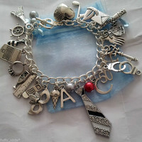 ♥ 50 FIFTY SHADES OF GREY INSPIRED ♥ LOADED CHARM BRACELET ♥ CHARLIE TANGO TIE ♥