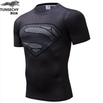 Marvel Super Heroes Avenger Batman T shirt Men Compression Armour Base Layer  Thermal Under Top 2016 Free shipping