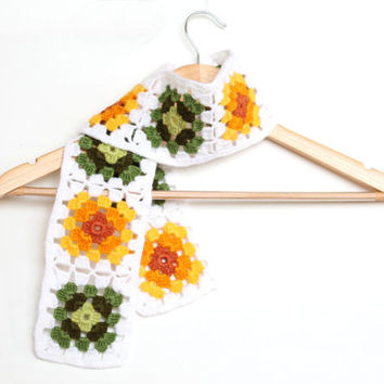 Granny Square Scarf / Mitten / Yellow Orange Green White Colorful / Handmade Square scarf / Valentines day / Mother's Day Gift