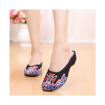 Old Beijing Cloth Shoes Slippers Embroidered Shoes Slipsole Sandals National Sty