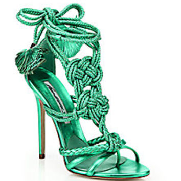 Brian Atwood - Yuna Knotted Braided Leather Ankle-Tie Sandals<br> - Saks Fifth Avenue Mobile