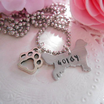 Aluminium Golden Retriever Hand Stamped Necklace With Paw Charm