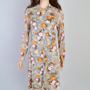 1970s Painterly Floral Dress / Vintage Mini Dress / Oriental Details / Psychedelic Flowers / Boho Bohemian / Autumn Print