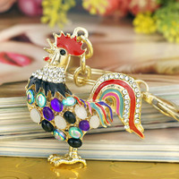 Dalaful Pretty Chic Opals Cock Rooster Chicken Keychains Crystal Bag Pendant Key ring Key chains Gift Jewelry Llaveros K131
