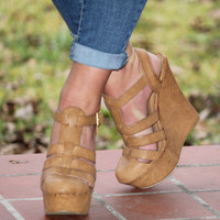 Camel Closed Toe Strappy Wedge