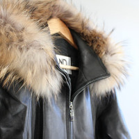 Finland RACCOON full volume fur trim black softest lamb leather PARKA cinched waist size s - m