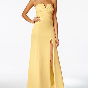 B Darlin Juniors' Strapless Sweetheart Slit Gown | macys.com