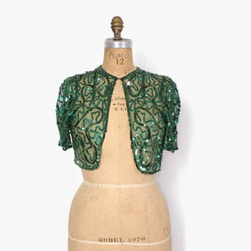 Vintage 30s SEQUIN Bolero / 1930s - 40s Green Sequin Net Lace Cropped Evening Jacket
