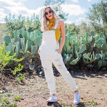 Down To Earth White Boyfriend Denim Overalls