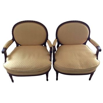 Pre-owned Louis XVI Fauteuil Vintage Chairs - Set of 2