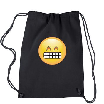 Color Emoticon - Grinning Smiley Drawstring Backpack