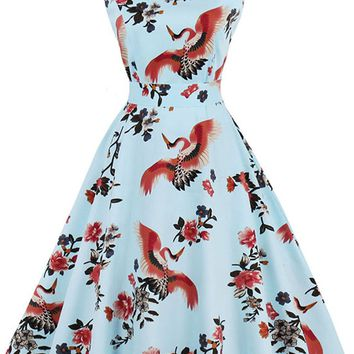 Atomic Light Blue Floral and Birds Swing Dress