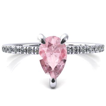 Mayeli Pear Pink Sapphire 3 Claw Prong Micro Pave Diamond Sides Engagement Ring