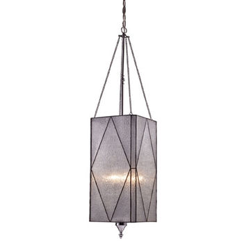 Elk Lighting 72037-4 Stockton Polished Chrome Four-Light Lantern Pendant with Sculptured Clear Glass