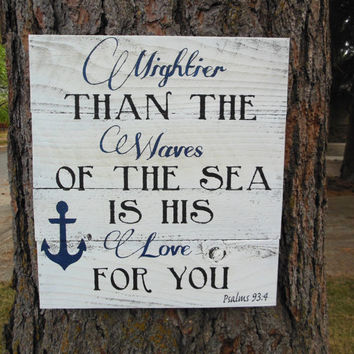 "Joyful Island Creations ""Mightier than the waves of the sea is his love for you"" large wood sign/ anchor signs/ boy nursery sign"
