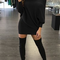 Black Plain Irregular Boat Neck Fashion Polyester Mini Dress