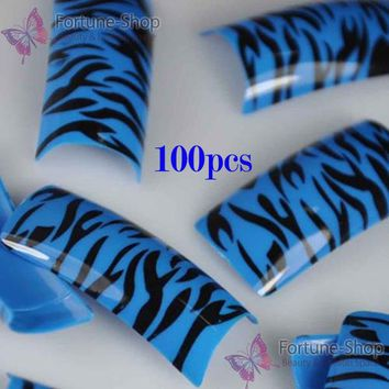 100PCS Beauty Acrylic Fake Nails Blue Black Tiger SKin Style French False Plastic Nail Art Tips New F236