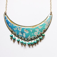 Big turquoise blue ombre enamel necklace, bohemian statement jewelry beaded bib pendant one of a kind artisan jewelry