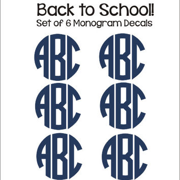 Set of Monogram Decals Set of Six Decals Small Monogram Decals Labels Notebook Folder Binder Decals Personalized Preppy Back to School