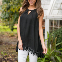 Crochet Wishes Tank, Black