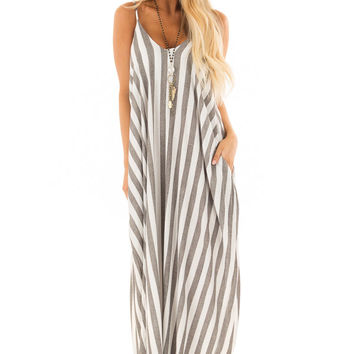 Charcoal and Ivory Striped Cocoon Maxi Dress with Pockets