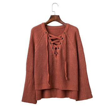 Batwing sleeves lady knit sweater women winter crop lace up sweater and pullovers womans knitted oversized new
