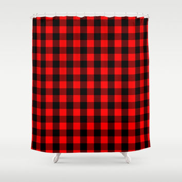 Classic Red and Black Buffalo Check Plaid Tartan Shower Curtain by podartist