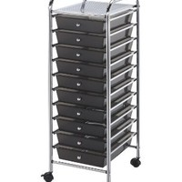 Blue Hills Studio Storage Cart with 10 Drawers, 13-Inch by 38-Inch by 15-1/2-Inch, Smoke