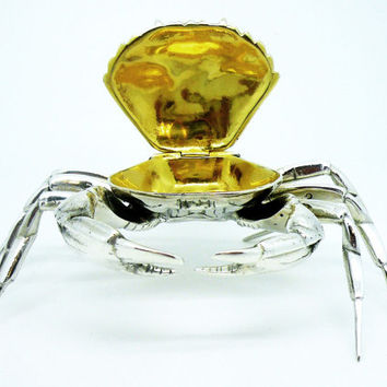 Novelty Sterling Silver CRAB Tabletop Snuff Box, Solid, Spanish, Table Top, Spain, Madrid, REF:257R