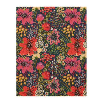 Vintage Bright Floral Pattern Fabric Wood Print