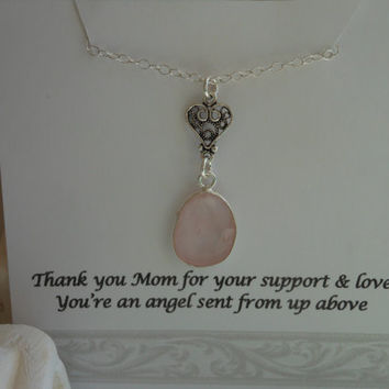 Mother of the Bride Gift, Sterling Silver Heart Necklace, Rose Quartz Pendant, Thank You Mom, Mother in Law, Mother of the Groom