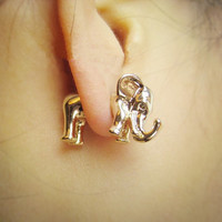 Three-dimensional elephant stud earrings, earring piercing AJ3