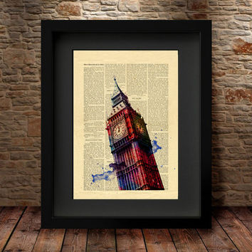 Big Ben Print, Big Ben Art Print, Big Ben watercolor, London Poster, London Big Ben, London Photo, London Decor, London Wall Art, -52