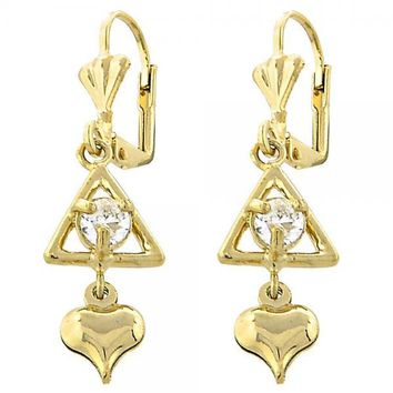 Gold Layered Leverback Earring, Heart Design, with Cubic Zirconia, Golden Tone