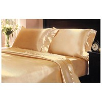 4-Pc 400TC Satin Bed Sheet Pillowcase Set DP Lingerie Silky Charmeuse Gold Queen