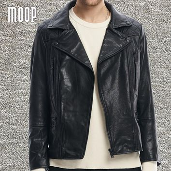 Back letter embroidered black quilted genuine leather coat men washed lambskin motorcycle jackets chaqueta moto hombre LT1367