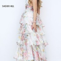 Sherri Hill Floor Length Floral Print Halter Dress with Tiered Skirt