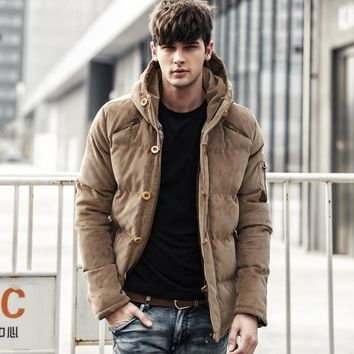 Winter Jacket Men Warm Thickening Corduroy Single breasted  Parkas Casual Outwear Cotton Jacket Solid Slim Coat  LD102