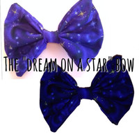 Galaxy hair bow, galaxy bow, galaxy, bows, bow, hair bow, hair bows, hair accessories, children's hair bow, toddlers hair bow, blue hair bow