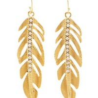 Gold Dangling Rhinestone Feather Earrings by Charlotte Russe