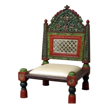 TEAK WOOD CARVED BACK HAND PAINTED TRIBAL STYLE CHAIR