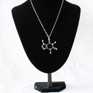 Caffeine Molecule necklace! Coffee in a Necklace! Sterling silver chain