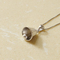 925 Sterling Silver bell necklace,silver small bell necklace