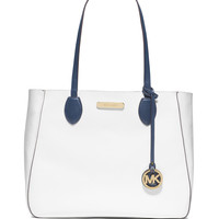 Mae Large Bicolor Tote Bag, Navy/White