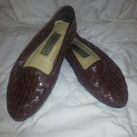 Vintage 80s Brown Woven Leather Flats by Carysma Club