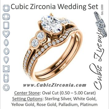 CZ Wedding Set, featuring The Eneroya engagement ring (Customizable Enhanced 5-stone Oval Cut Design with Thin Pavé Band)