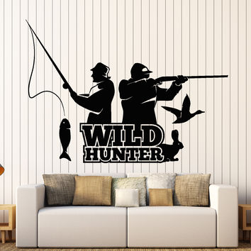 Wall Vinyl Decal Hunting Fishing Wild Hunter Fishing Nature Home Interior Decor Unique Gift z4428